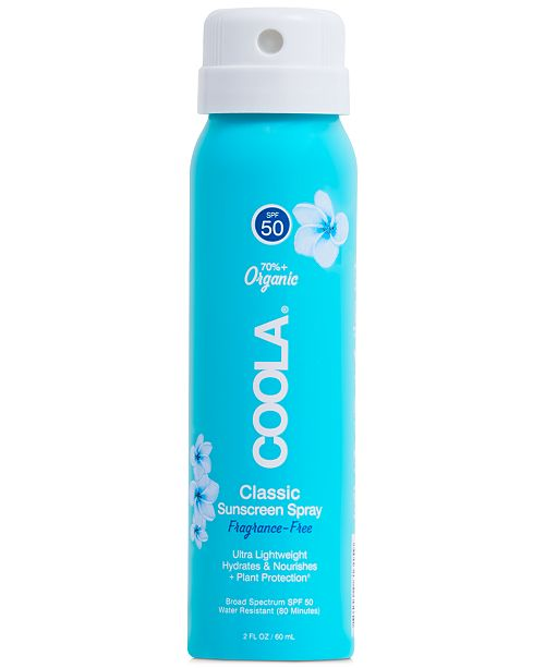 COOLA Classic Body Organic Sunscreen Spray SPF 50 - Fragrance Free, 2-oz.