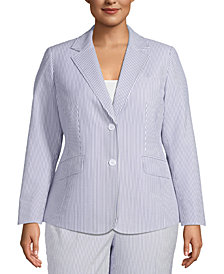 Anne Klein Plus Size Seersucker 2-Button Blazer