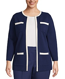 Plus Size Contrast-Trim Open-Front Cardigan