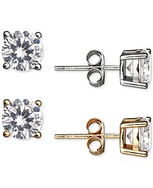 2-Pc. Set Cubic Zirconia Stud Earrings in Sterling Silver & 18k Gold-Plate