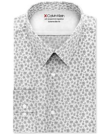 Men's Extra-Slim Fit Temperature-Regulating Performance Stretch Abstract-Print Dress Shirt