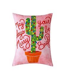 """Christmas Cactus Decorative Pillow, 16"""" x 12"""""""