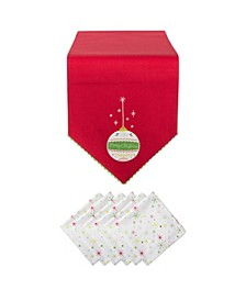 Merry Christmas Ornament Embellished Table Runner and Napkin, Set of 7