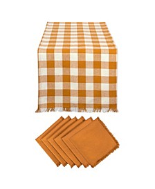 Pumpkin Spice Heavyweight Check Fringed Table Runner and Napkin, Set of 7