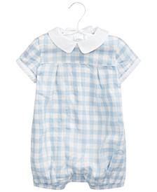 Baby Boys Gingham Linen Bubble Shortall