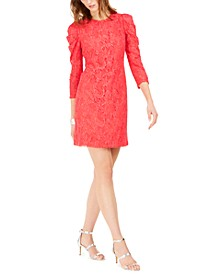 Statement-Sleeve Lace Dress