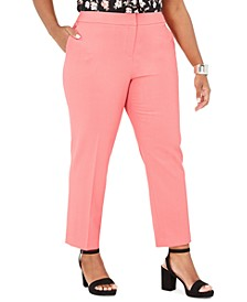 Trendy Plus Size Bi-Stretch Straight-Leg Ankle Pants, Created for Macy's