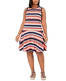 Plus Size Striped Flounce Dress