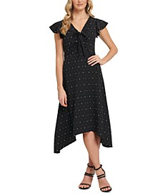 Starry Ruched Tie-Front Dress