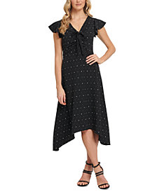 DKNY Starry Ruched Tie-Front Dress