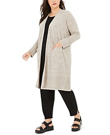 Plus Size Organic Linen Long Cardigan