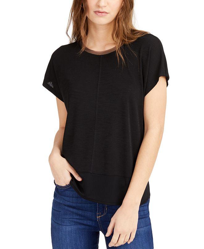 Bar III Mixed-Media T-Shirt, Created for Macy's