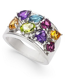 Multi-Gemstone (3-1/3 ct. t.w.) & Diamond (1/20 ct. t.w.) Ring in Sterling Silver