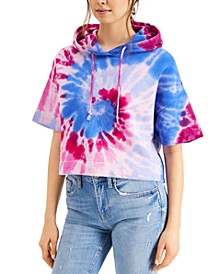 Cotton Tie-Dyed Cropped Hoodie