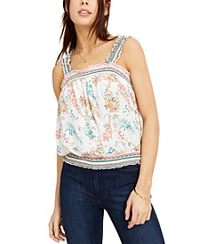 Juniors' Printed Smocked Bubble Tank Top