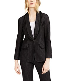 Go Getter Ruffled Denim Blazer, Created for Macy's