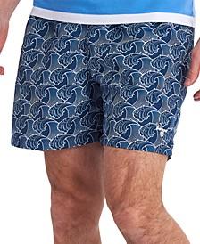 Men's Wave-Print Swim Trunks
