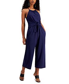 Speechless Juniors' Cropped Tie-Front Jumpsuit