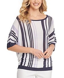 DKNY Striped Elbow-Sleeve Top