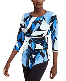 Petite Printed Point-Hem Top, Created for Macy's