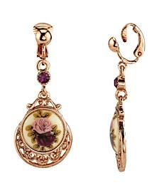 Rose Gold Tone Purple Crystal Flower Clip Drop Earrings