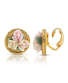 Gold Tone 3 Flower Pink White Porcelain Flower Round Button Clip Earring