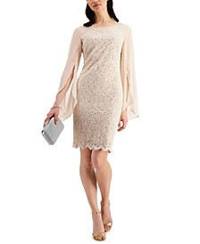 Flutter-Sleeve Sequined Lace Dress