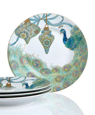 222 Fifth Holiday Set of 4 Lakshmi Peacock Dessert Plates ...