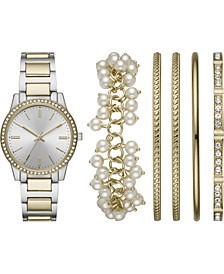 Women's Two-Tone Bracelet Watch 36mm Gift Set
