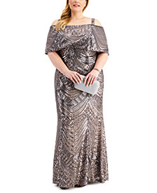 Nightway Plus Size Sequin Gown