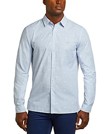 Men's Regular Fit Long Sleeve Button Down Dobby Stripe Poplin Dress Shirt