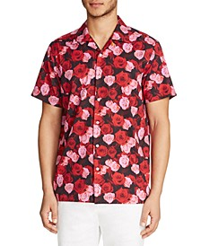 Men's Slim-Fit Performance Stretch Rose Print Short Sleeve Camp Shirt