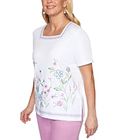 Petite Petal Pushers Embroidered Studded Top