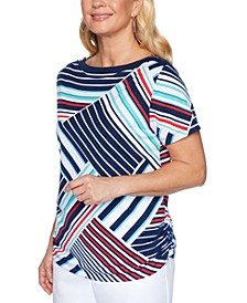 Petite Ship Shape Striped Zipper-Shoulder Top