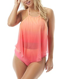 Aura Mesh Ruffle Tankini Top & High-Waist Bikini Bottoms