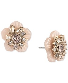 Gold-Tone Crystal & Imitation Pearl Flower Button Earrings