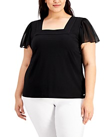 Plus Size Flutter-Sleeve Square-Neck Top