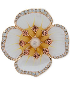 Gold-Tone Imitation Pearl & Flower Pin