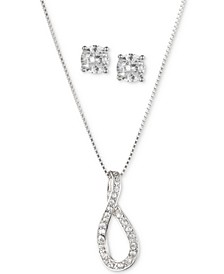 "Silver-Tone 2-Pc. Set Crystal Stud Earrings & Infinity Pendant Necklace, 16"" + 3"" extender"