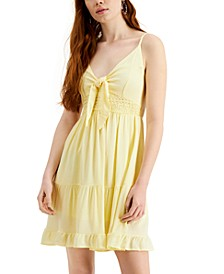 Juniors' Tie-Front Crochet-Trim Dress