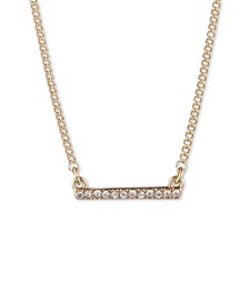 "Gold-Tone Crystal Bar Statement Necklace, 16"" + 3"" extender"
