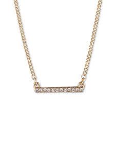 "DKNY Gold-Tone Crystal Bar Statement Necklace, 16"" + 3"" extender"