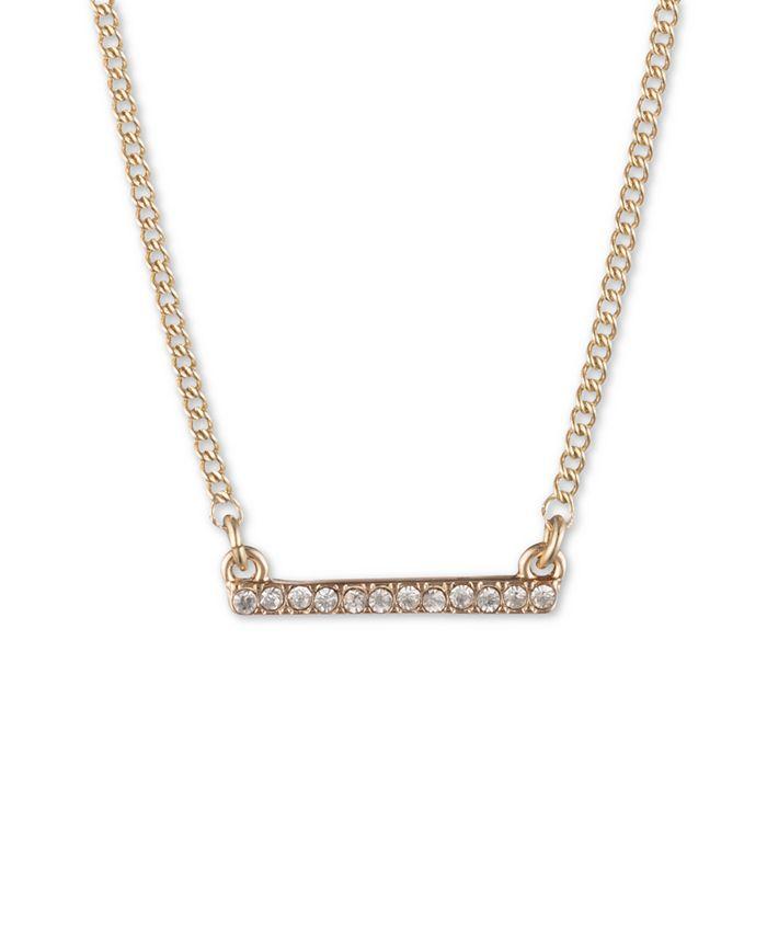 "DKNY - Gold-Tone Crystal Bar Statement Necklace, 16"" + 3"" extender"