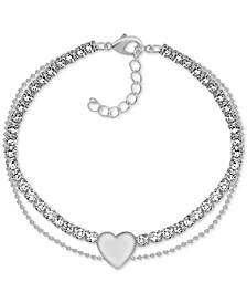 Crystal & Heart Double Row Ankle Bracelet in Fine Silver-Plate