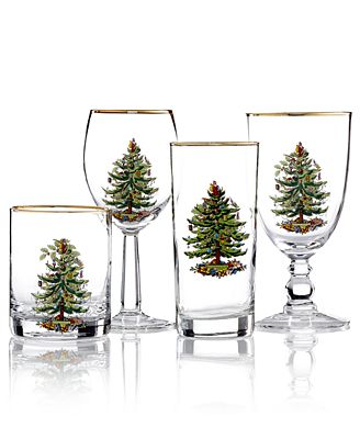 Spode Glassware, Set of 4 Christmas Tree Collection