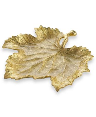Gold Grape Leaf Snack Plate