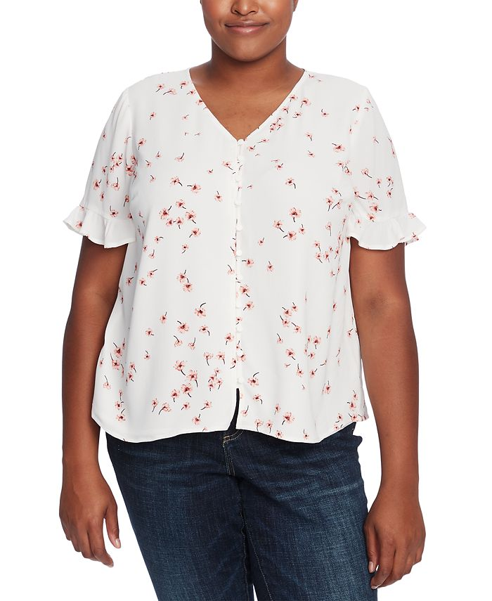 CeCe - Plus Size Printed Ruffled-Sleeve Blouse