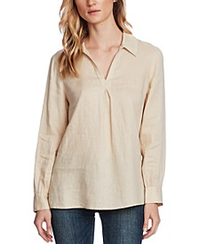 Petite Linen Split-Neck Collared Top