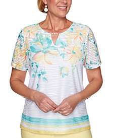 Petite Spring Lake Floral Yoke Texture Knit Top