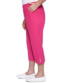 Petite Laguna Beach Cotton Gauze Button-Trim Capri Pants